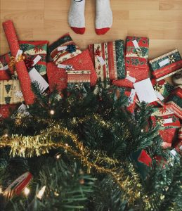 Pile of presents under the tree.