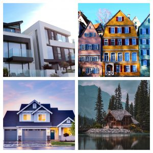 Collage of different style homes