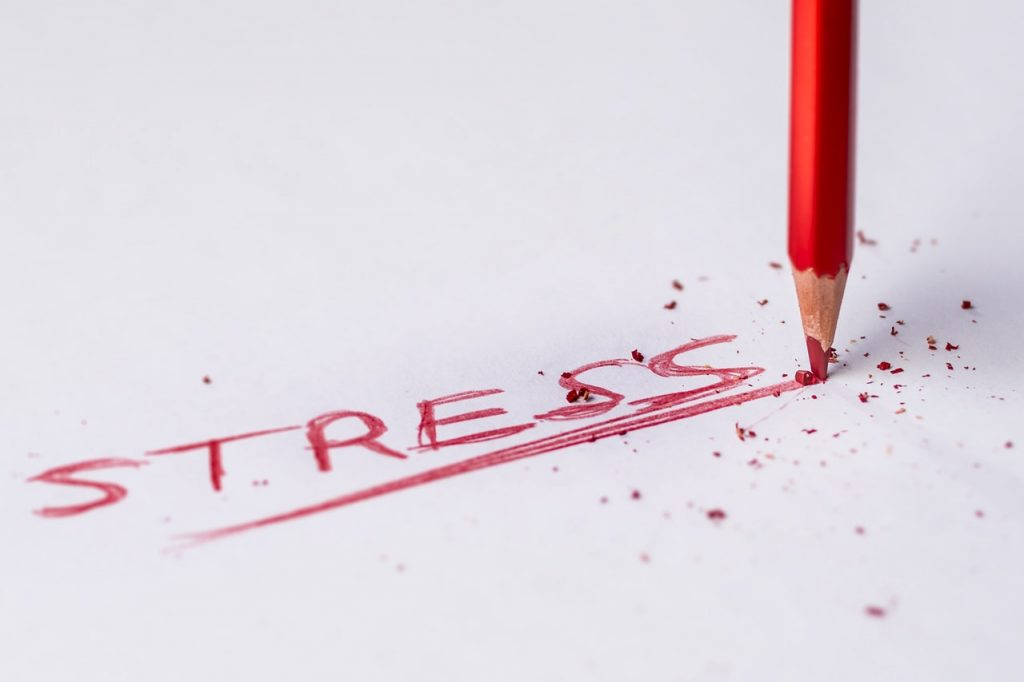 Stress written in red pencil, with a broken tip.